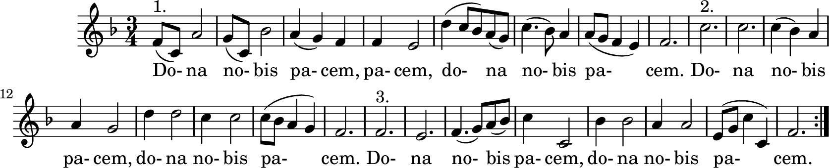 Notenblatt Music Sheet Dona nobis pacem