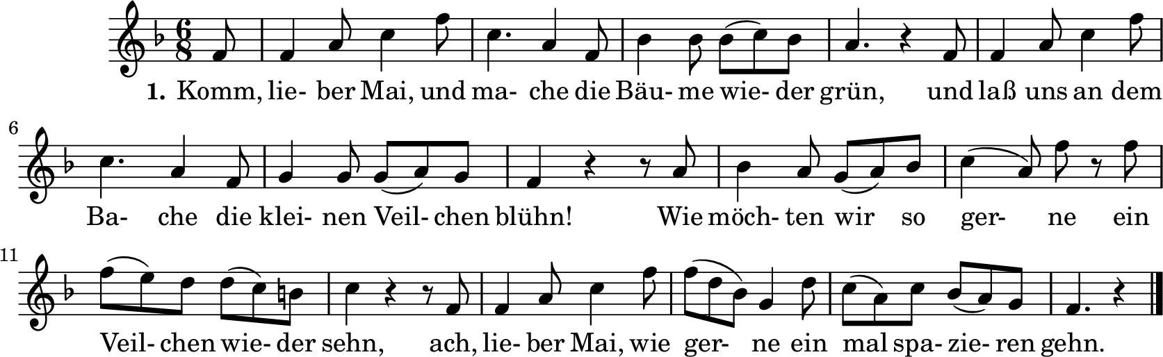"""Notenblatt Music Sheet Fritzchen an den Mai - """"Komm, lieber Mai"""""""