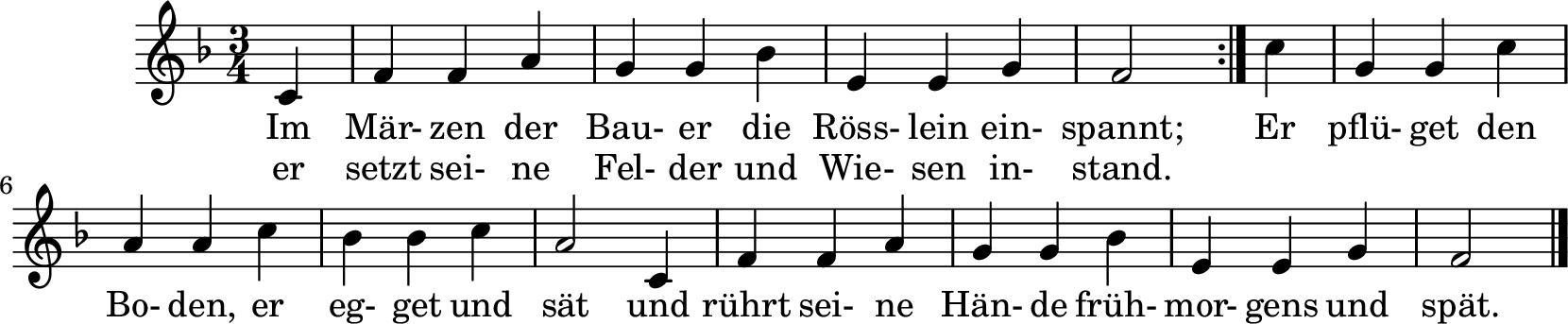 Notenblatt Music Sheet Im Märzen der Bauer