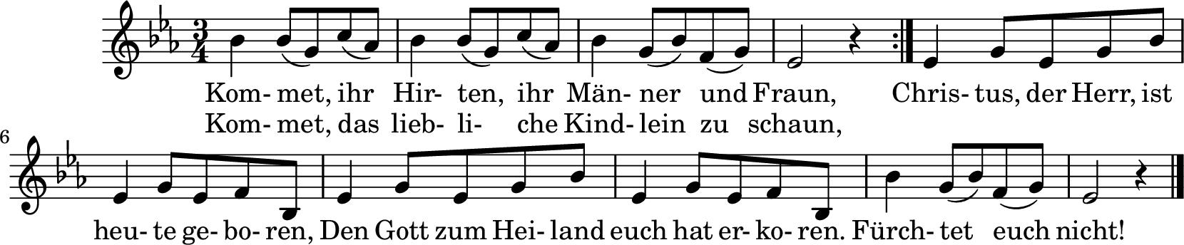Notenblatt Music Sheet Kommet ihr Hirten